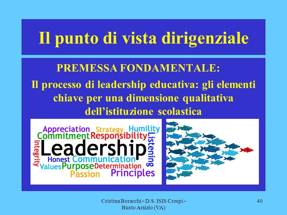 Il punto di vista dirigenziale PREMESSA FONDAMENTALE: Il processo di leadership educativa: gli elementi chiave per una dimensione qualitativa dell'ist