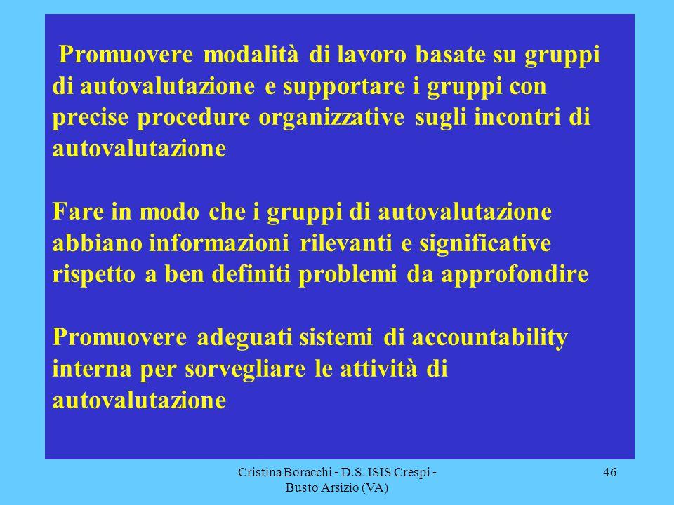 Cristina Boracchi - D.S. ISIS Crespi - Busto Arsizio (VA) 46 Promuovere modalità di lavoro basate su gruppi di autovalutazione e supportare i gruppi c