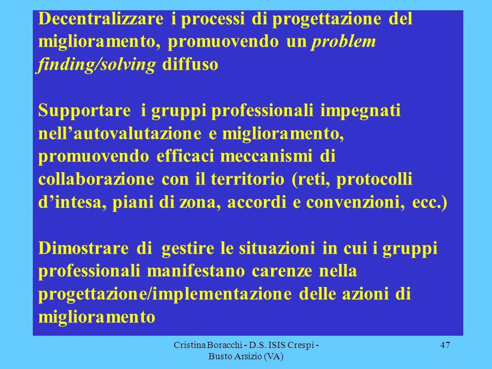 Cristina Boracchi - D.S. ISIS Crespi - Busto Arsizio (VA) 47 Decentralizzare i processi di progettazione del miglioramento, promuovendo un problem fin
