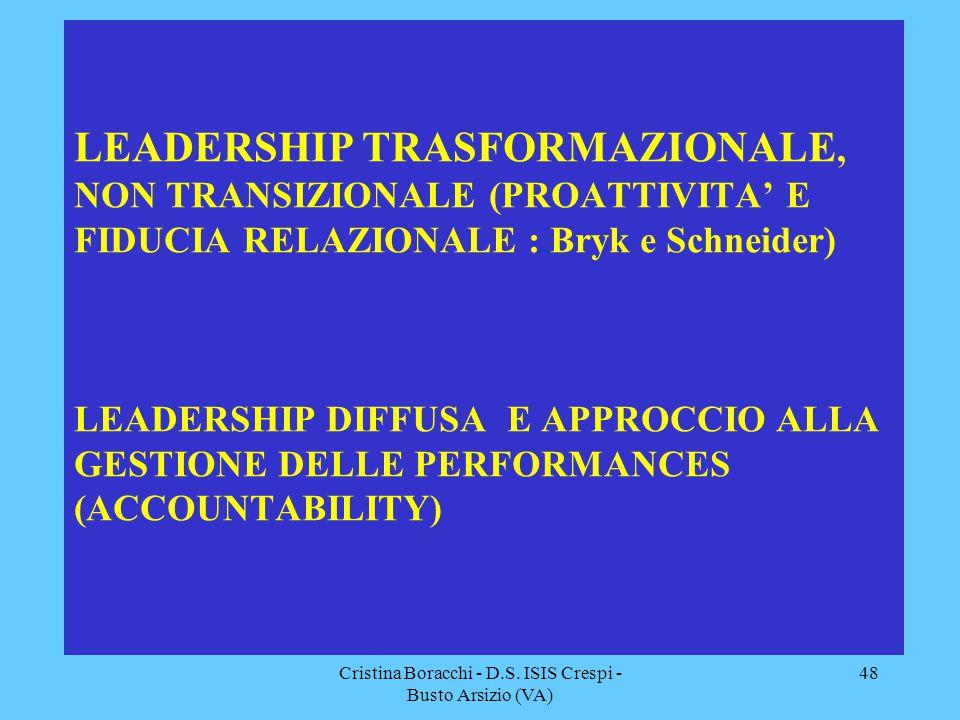 Cristina Boracchi - D.S. ISIS Crespi - Busto Arsizio (VA) 48 LEADERSHIP TRASFORMAZIONALE, NON TRANSIZIONALE (PROATTIVITA' E FIDUCIA RELAZIONALE : Bryk