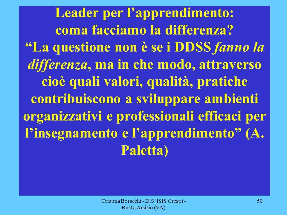 """Cristina Boracchi - D.S. ISIS Crespi - Busto Arsizio (VA) 50 Leader per l'apprendimento: coma facciamo la differenza? """"La questione non è se i DDSS fa"""