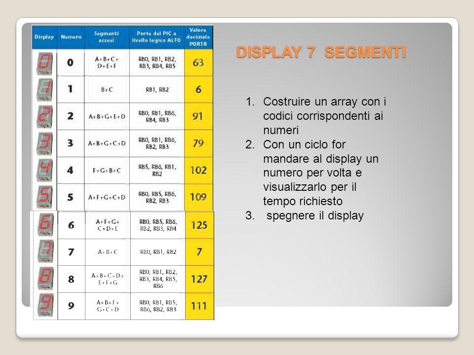 DISPLAY 7 SEGMENTI 1.Costruire un array con i codici corrispondenti ai numeri 2.Con un ciclo for mandare al display un numero per volta e visualizzarlo per il tempo richiesto 3.