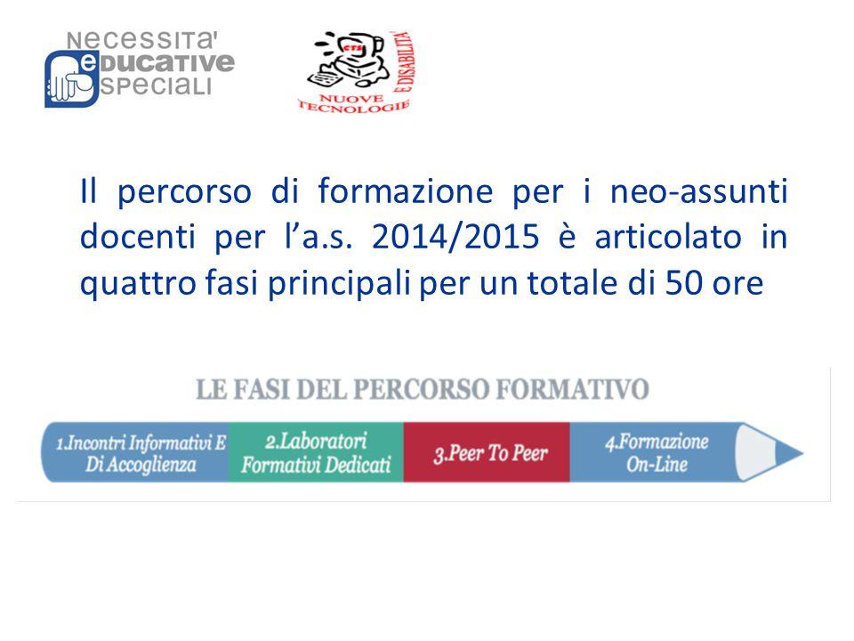 Il percorso di formazione per i neo-assunti docenti per l'a.s. 2014/2015 è articolato in quattro fasi principali per un totale di 50 ore