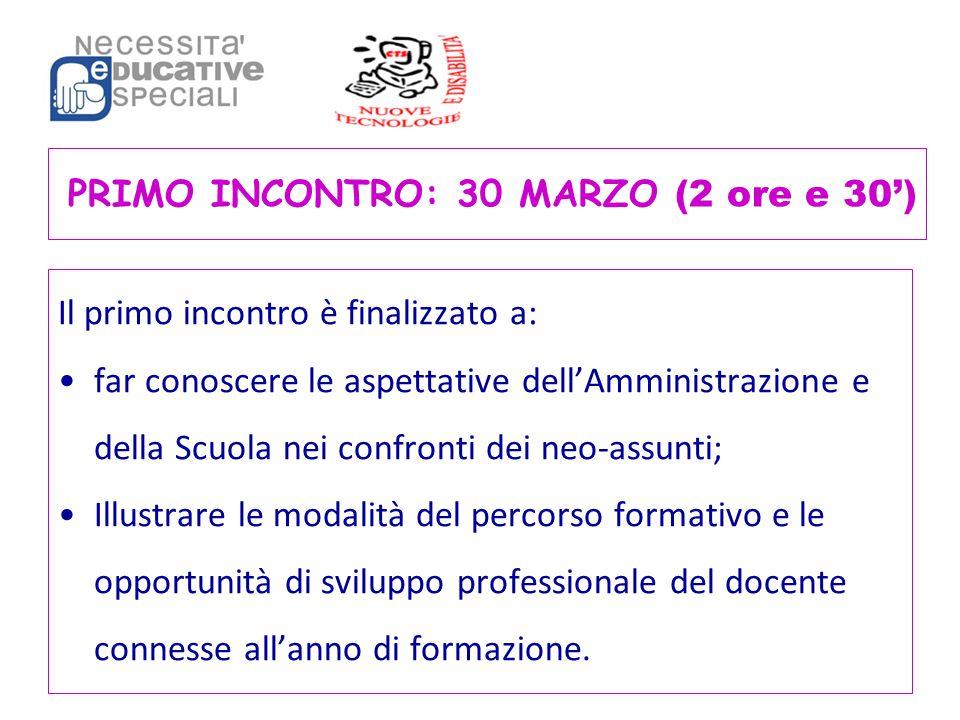 PRIMO INCONTRO: 30 MARZO (2 ore e 30') Il primo incontro è finalizzato a: far conoscere le aspettative dell'Amministrazione e della Scuola nei confron