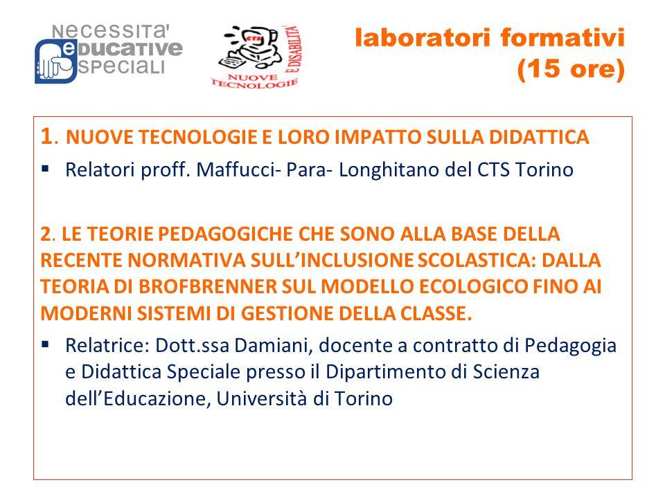 laboratori formativi (15 ore) 1. NUOVE TECNOLOGIE E LORO IMPATTO SULLA DIDATTICA  Relatori proff. Maffucci- Para- Longhitano del CTS Torino 2. LE TEO