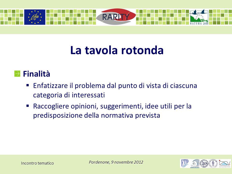 Incontro tematico Pordenone, 9 novembre 2012 La tavola rotonda Finalità  Enfatizzare il problema dal punto di vista di ciascuna categoria di interess