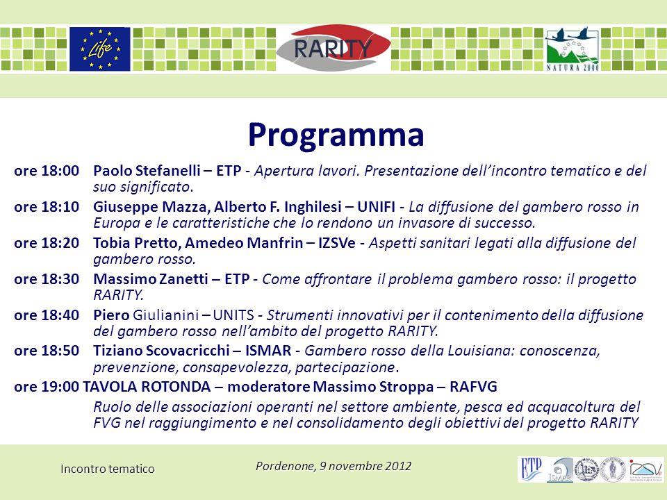 Incontro tematico Pordenone, 9 novembre 2012 Programma ore 18:00 Paolo Stefanelli – ETP - Apertura lavori. Presentazione dell'incontro tematico e del