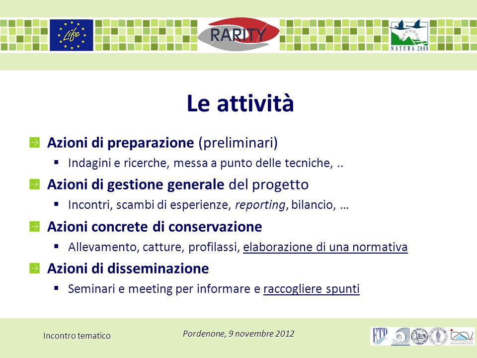 Incontro tematico Pordenone, 9 novembre 2012 Le attività Azioni di preparazione (preliminari)  Indagini e ricerche, messa a punto delle tecniche,.. A