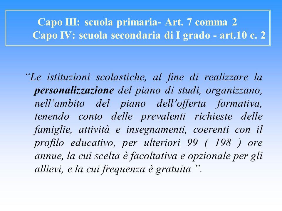 """Capo III: scuola primaria- Art. 7 comma 2 Capo IV: scuola secondaria di I grado - art.10 c. 2 """"Le istituzioni scolastiche, al fine di realizzare la pe"""