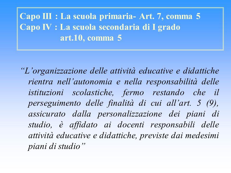 """Capo III : La scuola primaria- Art. 7, comma 5 Capo IV : La scuola secondaria di I grado art.10, comma 5 """"L'organizzazione delle attività educative e"""