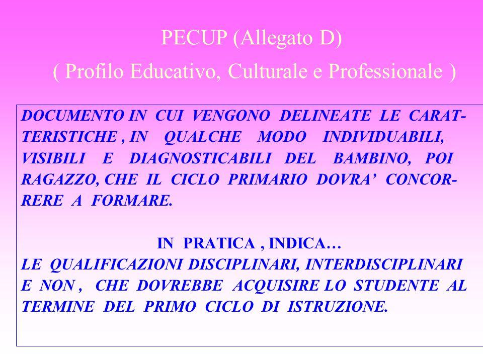 PECUP (Allegato D) ( Profilo Educativo, Culturale e Professionale ) DOCUMENTO IN CUI VENGONO DELINEATE LE CARAT- TERISTICHE, IN QUALCHE MODO INDIVIDUA