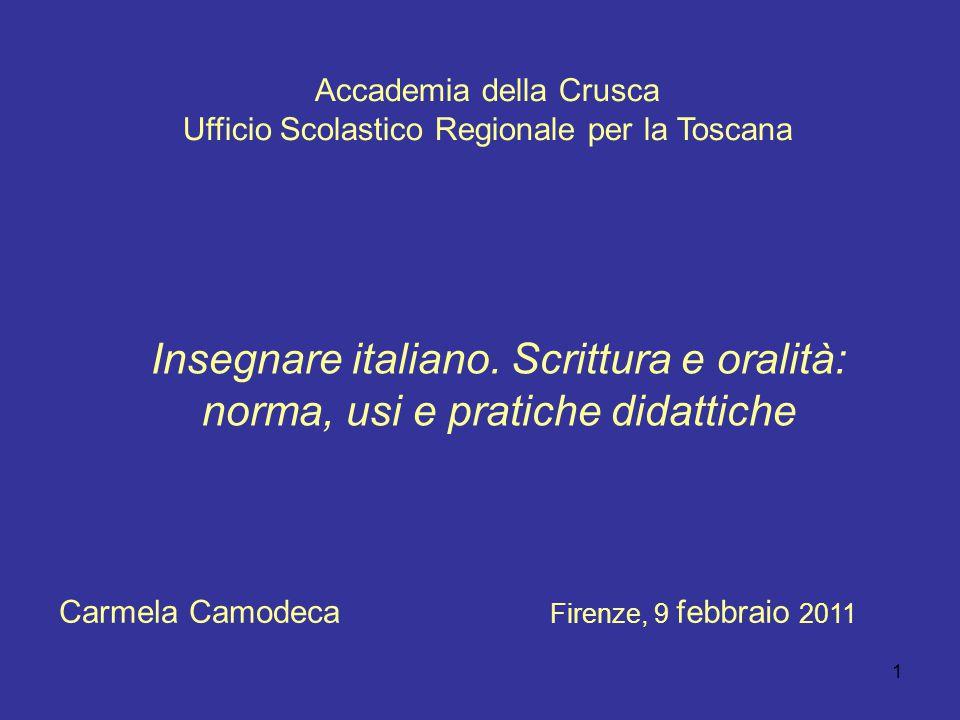 1 Accademia della Crusca Ufficio Scolastico Regionale per la Toscana Insegnare italiano. Scrittura e oralità: norma, usi e pratiche didattiche Firenze