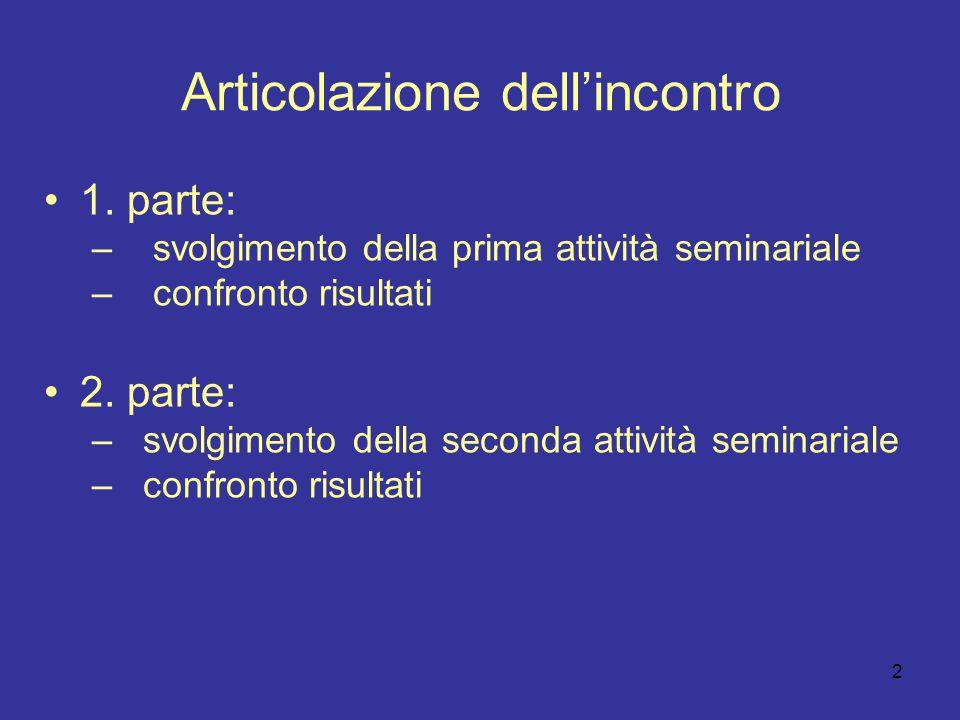 2 Articolazione dell'incontro 1. parte: – svolgimento della prima attività seminariale – confronto risultati 2. parte: – svolgimento della seconda att