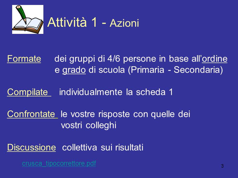 3 Attivit à 1 - Azioni Formate dei gruppi di 4/6 persone in base all'ordine e grado di scuola (Primaria - Secondaria) Compilate individualmente la sch