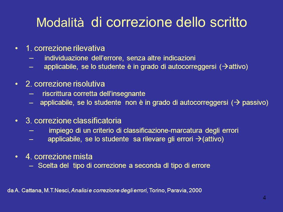 4 Modalità di correzione dello scritto 1. correzione rilevativa – individuazione dell'errore, senza altre indicazioni – applicabile, se lo studente è