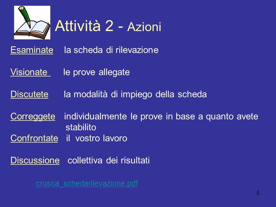 5 Attivit à 2 - Azioni Esaminate la scheda di rilevazione Visionate le prove allegate Discutete la modalità di impiego della scheda Correggete individ