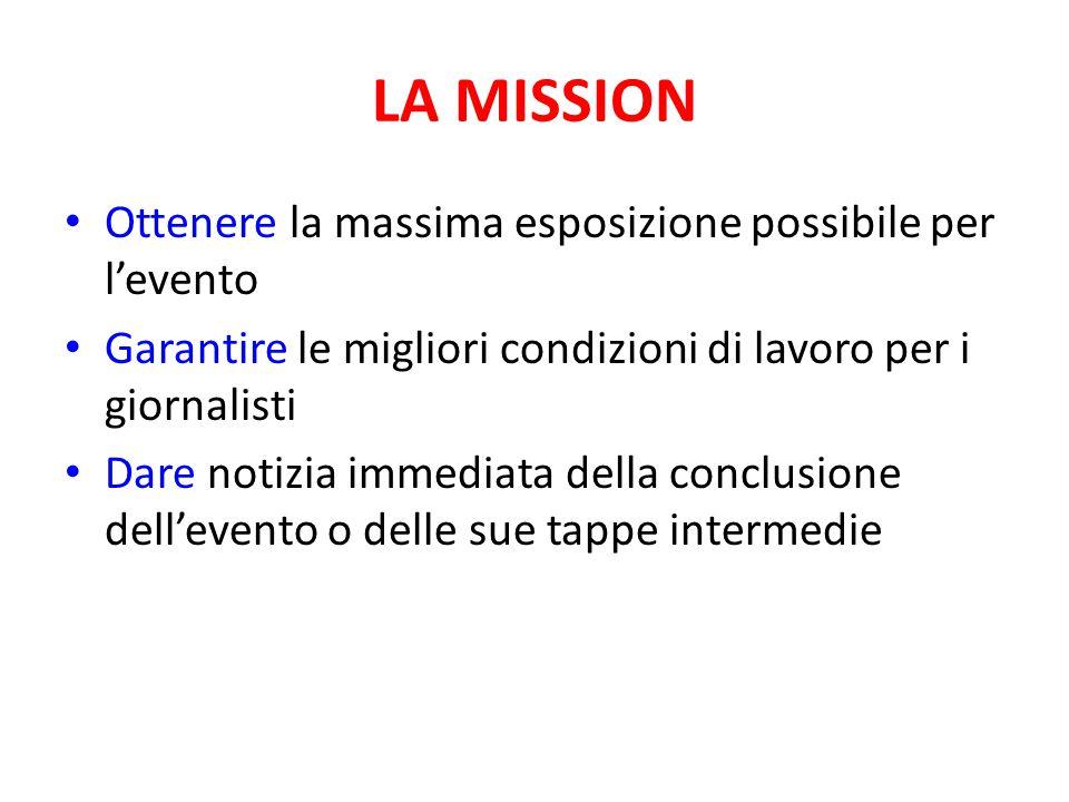 LA MISSION Ottenere la massima esposizione possibile per l'evento Garantire le migliori condizioni di lavoro per i giornalisti Dare notizia immediata