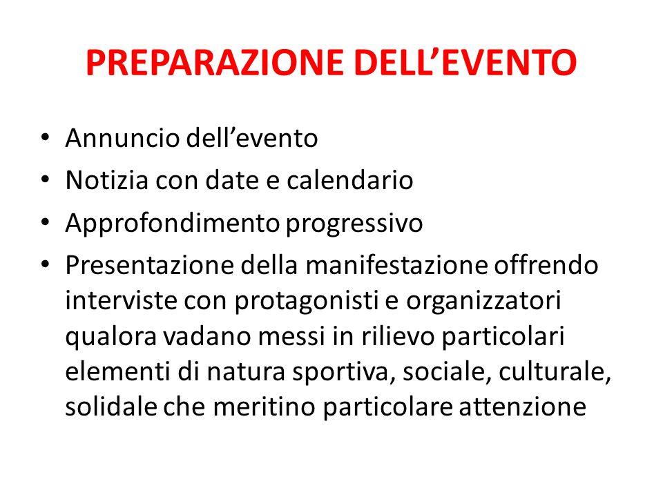 PREPARAZIONE DELL'EVENTO Annuncio dell'evento Notizia con date e calendario Approfondimento progressivo Presentazione della manifestazione offrendo in