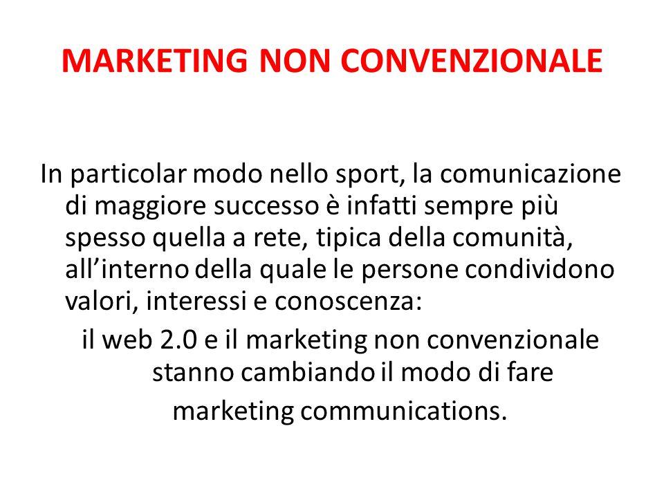MARKETING NON CONVENZIONALE In particolar modo nello sport, la comunicazione di maggiore successo è infatti sempre più spesso quella a rete, tipica de