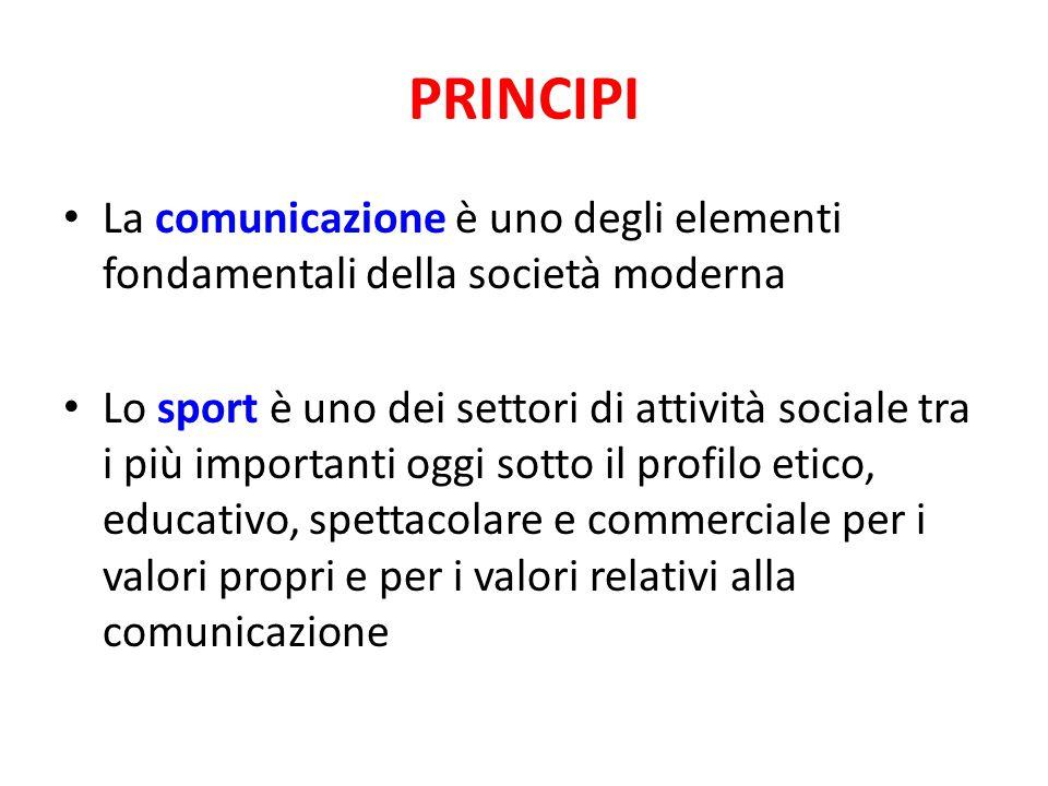 PRINCIPI La comunicazione è uno degli elementi fondamentali della società moderna Lo sport è uno dei settori di attività sociale tra i più importanti