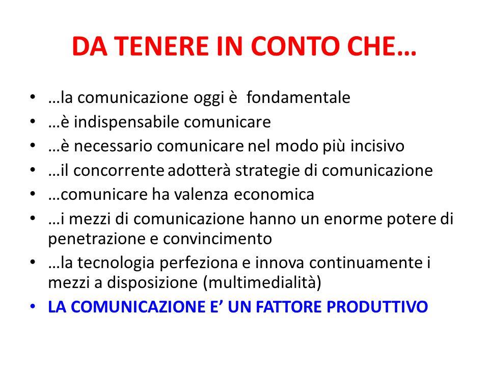 DA TENERE IN CONTO CHE… …la comunicazione oggi è fondamentale …è indispensabile comunicare …è necessario comunicare nel modo più incisivo …il concorre