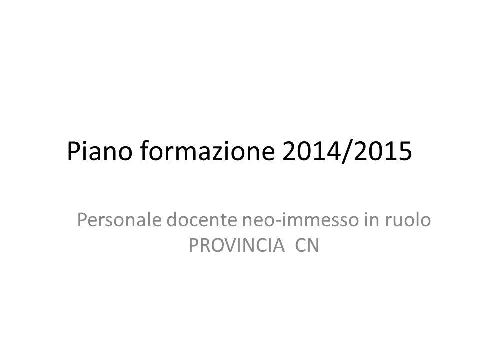 Piano formazione 2014/2015 Personale docente neo-immesso in ruolo PROVINCIA CN