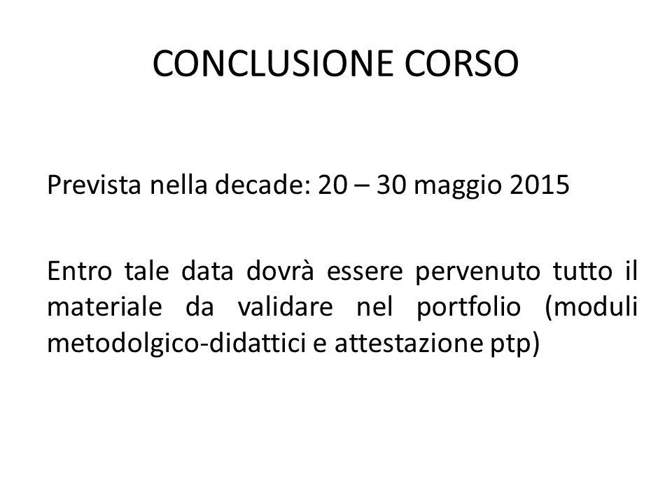 CONCLUSIONE CORSO Prevista nella decade: 20 – 30 maggio 2015 Entro tale data dovrà essere pervenuto tutto il materiale da validare nel portfolio (modu