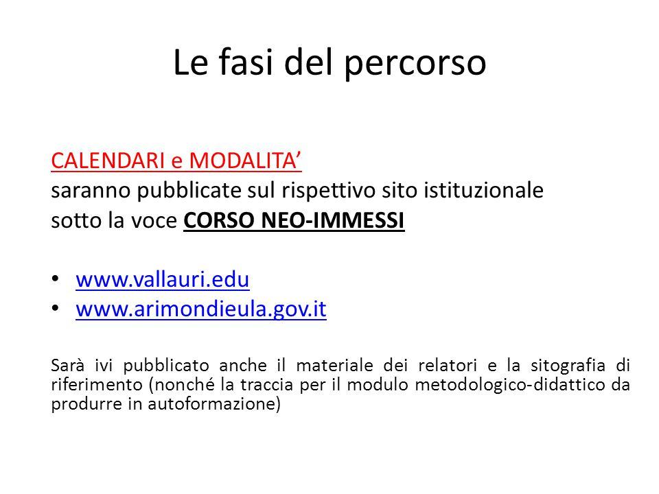 Le fasi del percorso CALENDARI e MODALITA' saranno pubblicate sul rispettivo sito istituzionale sotto la voce CORSO NEO-IMMESSI www.vallauri.edu www.a
