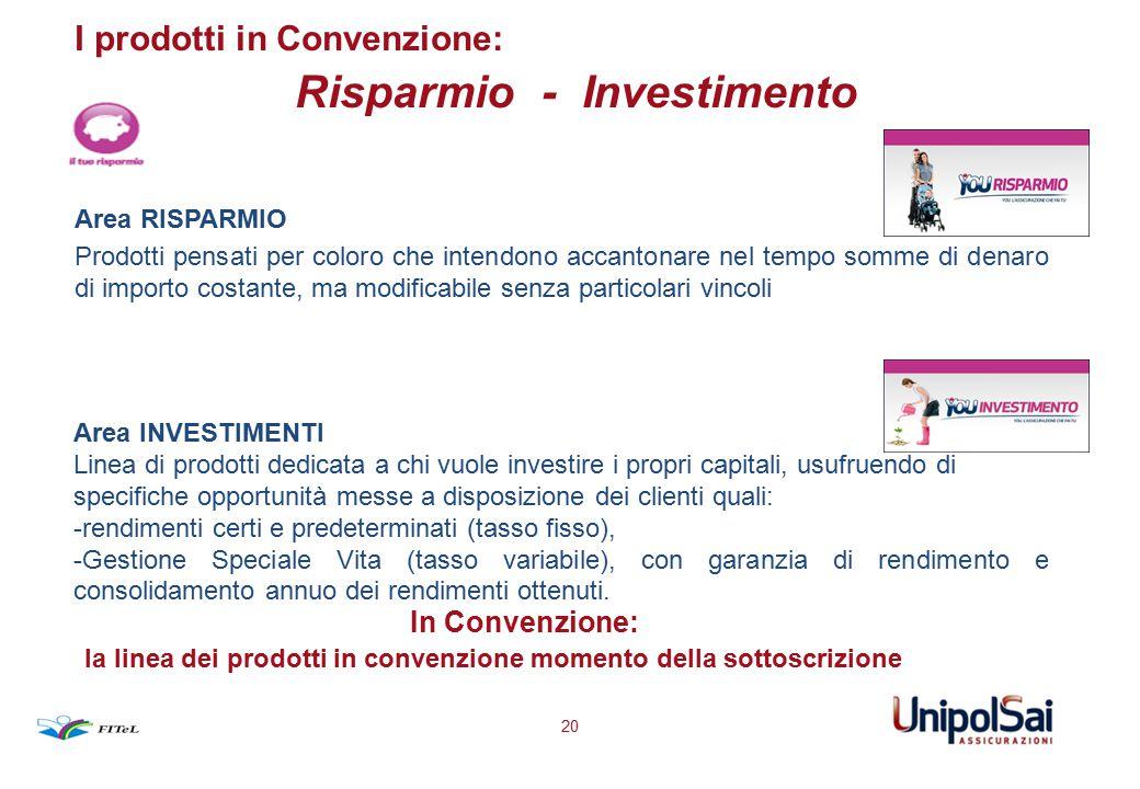 I prodotti in Convenzione: Risparmio - Investimento Area RISPARMIO Prodotti pensati per coloro che intendono accantonare nel tempo somme di denaro di