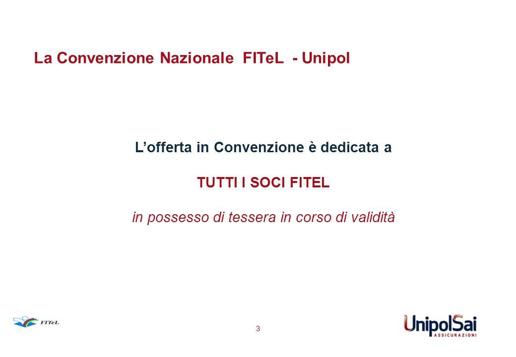 La Convenzione Nazionale FITeL - Unipol L'offerta in Convenzione è dedicata a TUTTI I SOCI FITEL in possesso di tessera in corso di validità 3