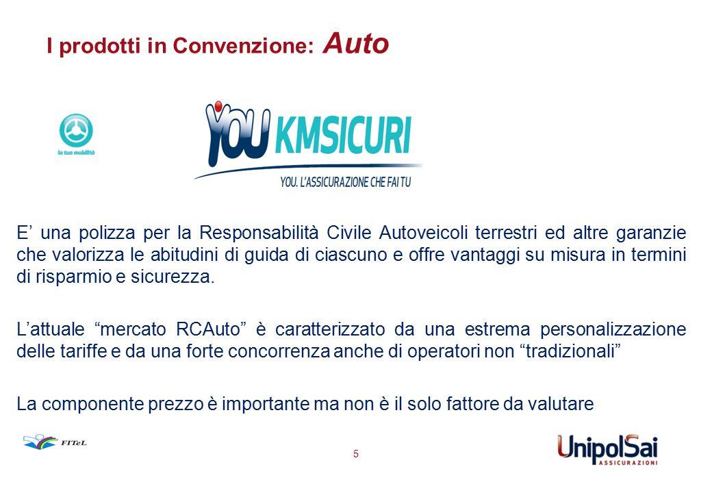 I prodotti in Convenzione: Auto 5 E' una polizza per la Responsabilità Civile Autoveicoli terrestri ed altre garanzie che valorizza le abitudini di gu