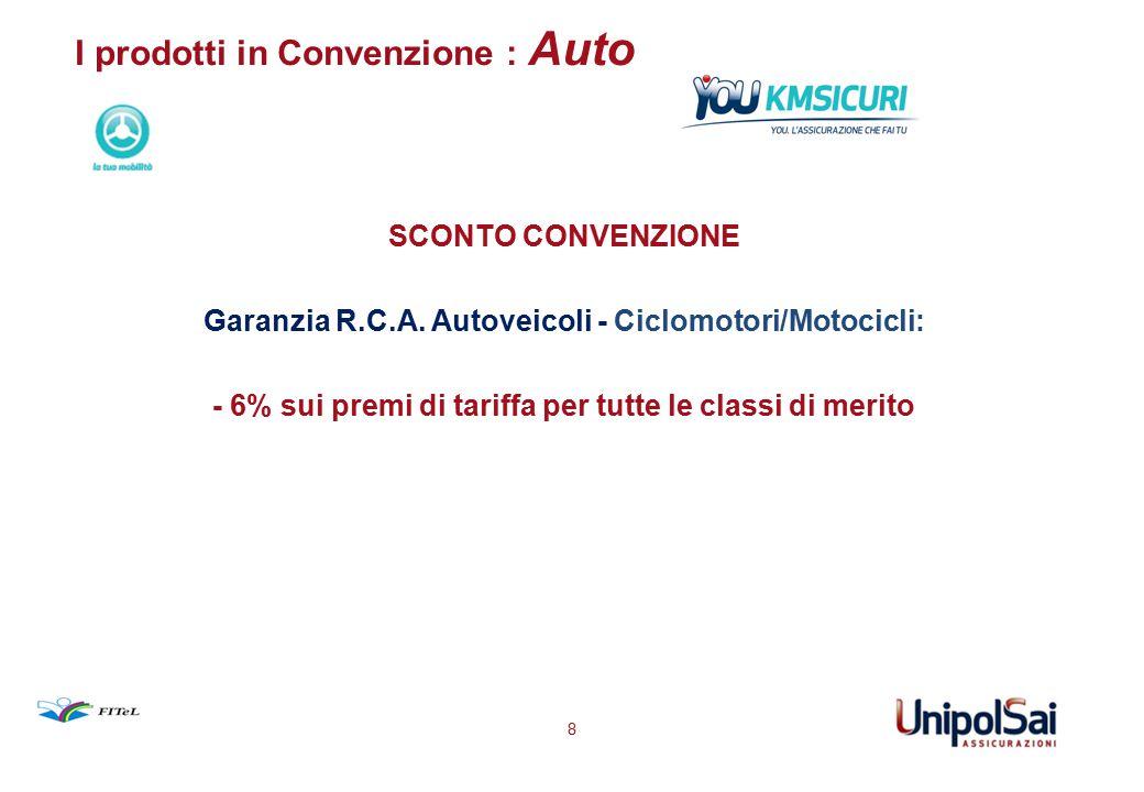 I prodotti in Convenzione : Auto SCONTO CONVENZIONE Garanzia R.C.A. Autoveicoli - Ciclomotori/Motocicli: - 6% sui premi di tariffa per tutte le classi