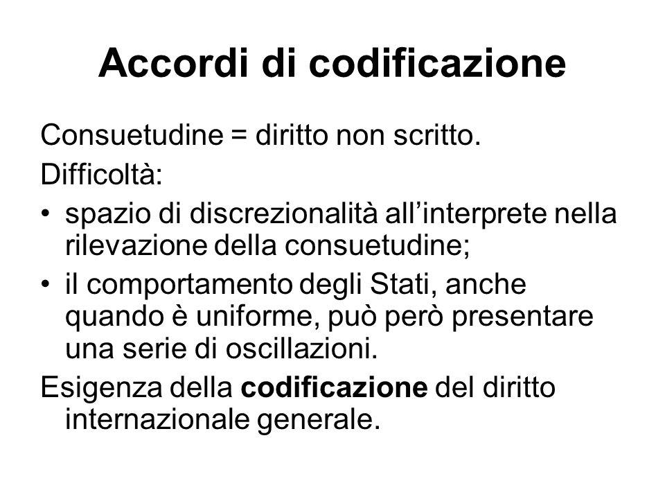 Accordi di codificazione Consuetudine = diritto non scritto. Difficoltà: spazio di discrezionalità all'interprete nella rilevazione della consuetudine