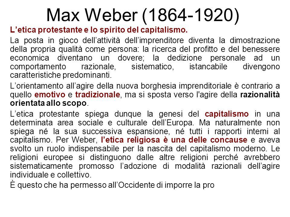 Max Weber (1864-1920) L'etica protestante e lo spirito del capitalismo. La posta in gioco dell'attività dell'imprenditore diventa la dimostrazione del