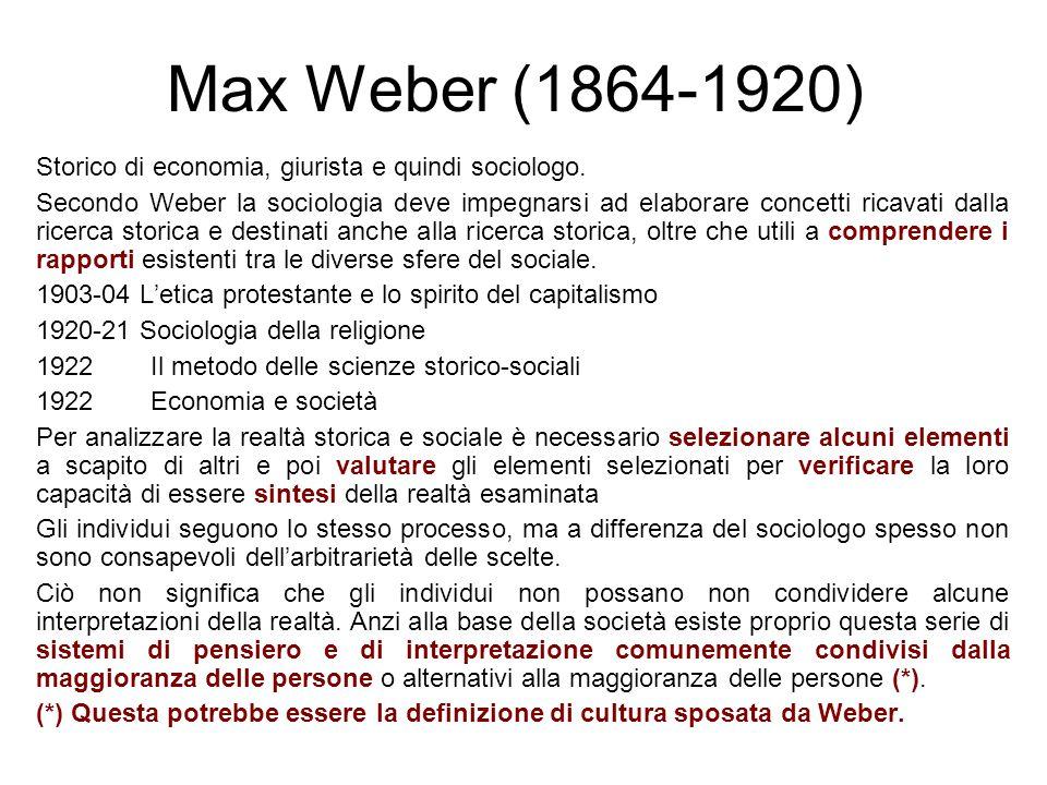 Max Weber (1864-1920) Storico di economia, giurista e quindi sociologo. Secondo Weber la sociologia deve impegnarsi ad elaborare concetti ricavati dal