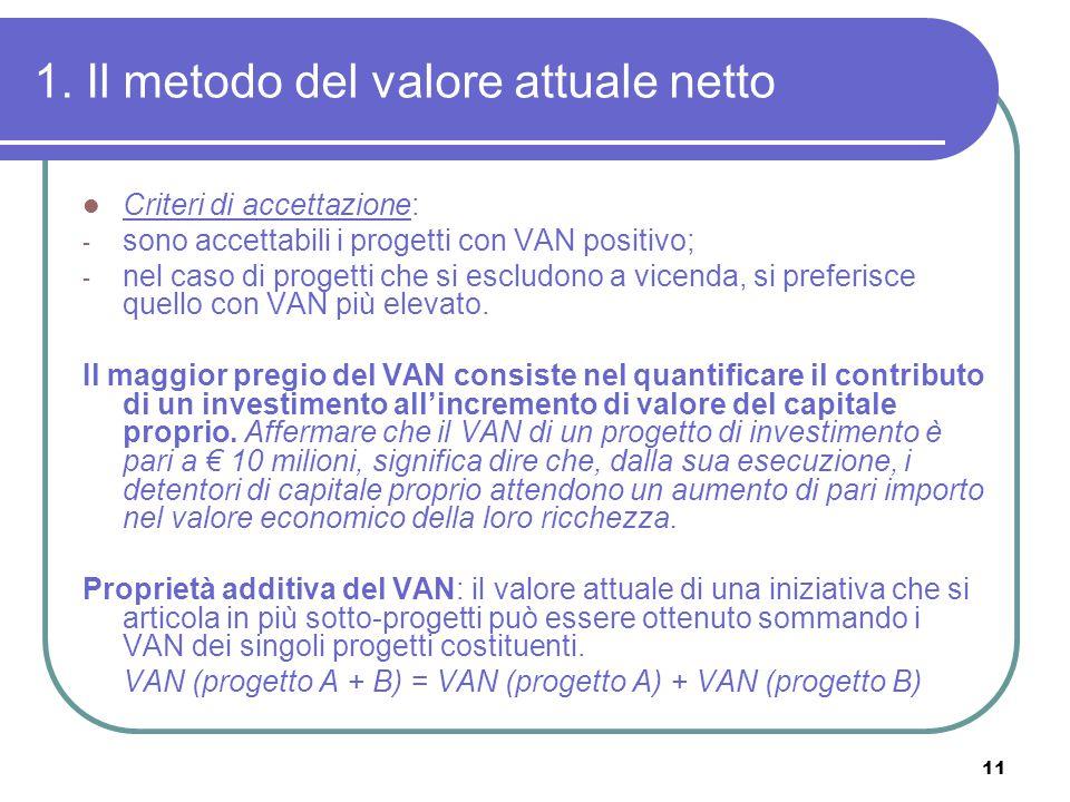 11 1. Il metodo del valore attuale netto Criteri di accettazione: - sono accettabili i progetti con VAN positivo; - nel caso di progetti che si esclud