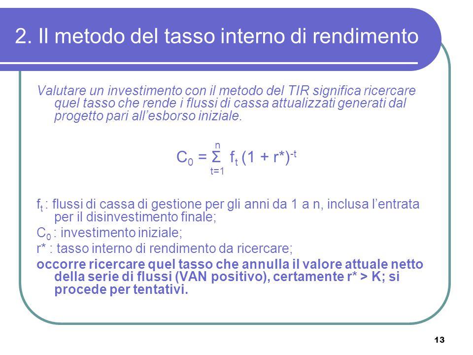 13 2. Il metodo del tasso interno di rendimento Valutare un investimento con il metodo del TIR significa ricercare quel tasso che rende i flussi di ca