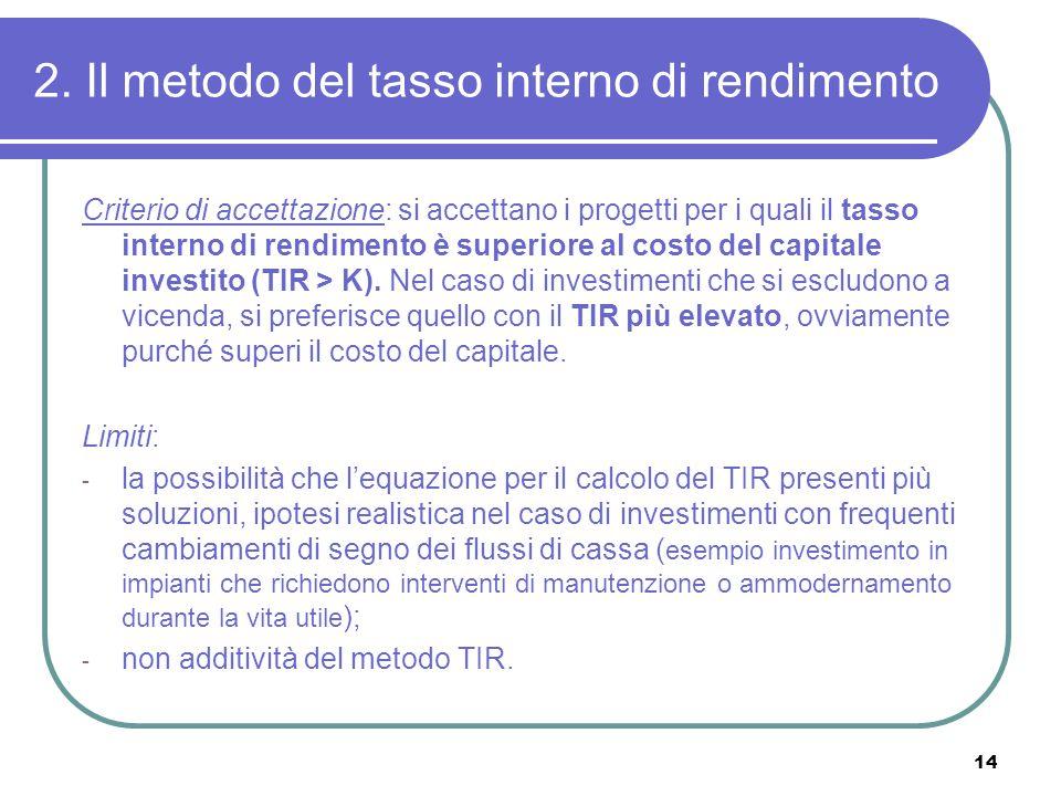 14 2. Il metodo del tasso interno di rendimento Criterio di accettazione: si accettano i progetti per i quali il tasso interno di rendimento è superio