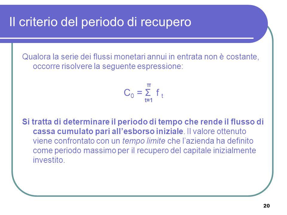 20 Il criterio del periodo di recupero Qualora la serie dei flussi monetari annui in entrata non è costante, occorre risolvere la seguente espressione: π C 0 = Σ f t t=1 Si tratta di determinare il periodo di tempo che rende il flusso di cassa cumulato pari all'esborso iniziale.
