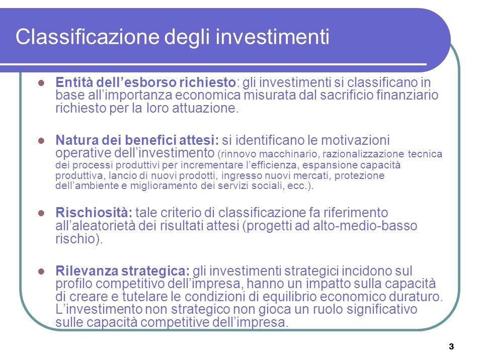 3 Classificazione degli investimenti Entità dell'esborso richiesto: gli investimenti si classificano in base all'importanza economica misurata dal sacrificio finanziario richiesto per la loro attuazione.