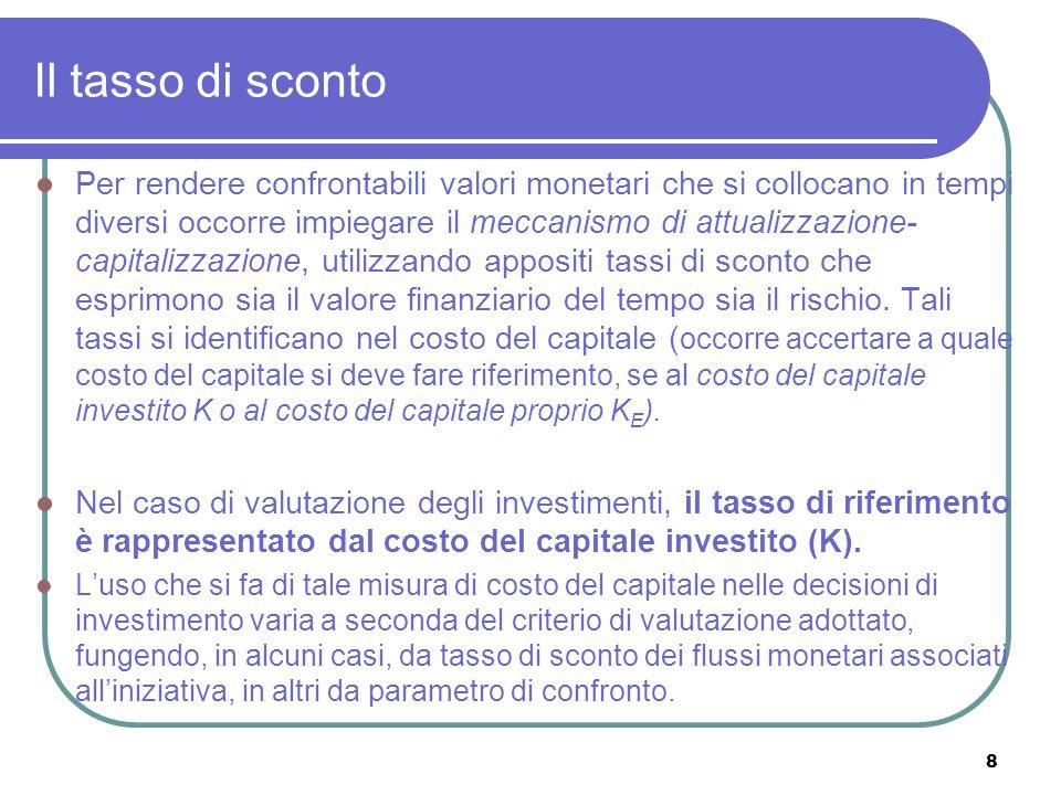8 Il tasso di sconto Per rendere confrontabili valori monetari che si collocano in tempi diversi occorre impiegare il meccanismo di attualizzazione- c
