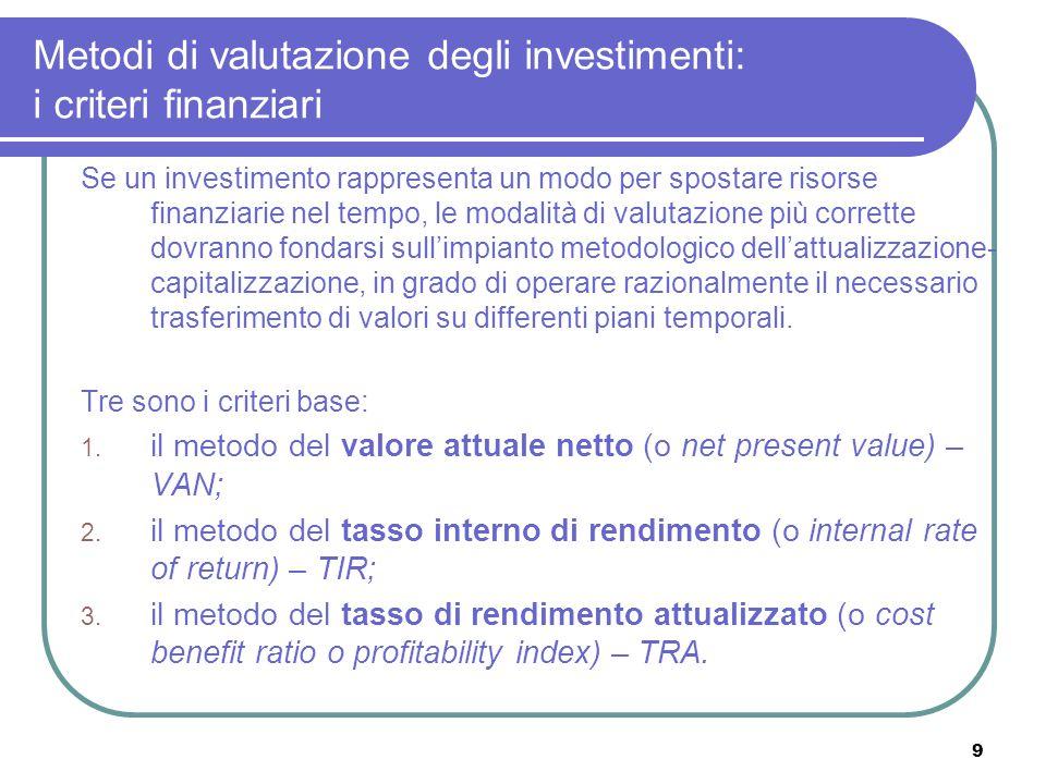 9 Metodi di valutazione degli investimenti: i criteri finanziari Se un investimento rappresenta un modo per spostare risorse finanziarie nel tempo, le