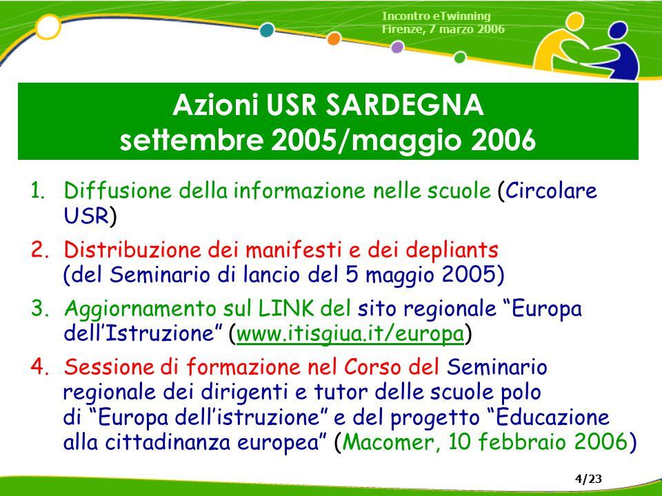 Azioni USR SARDEGNA settembre 2005/maggio 2006 1.Diffusione della informazione nelle scuole (Circolare USR) 2.Distribuzione dei manifesti e dei depliants (del Seminario di lancio del 5 maggio 2005) 3.Aggiornamento sul LINK del sito regionale Europa dell'Istruzione (www.itisgiua.it/europa)www.itisgiua.it/europa 4.Sessione di formazione nel Corso del Seminario regionale dei dirigenti e tutor delle scuole polo di Europa dell'istruzione e del progetto Educazione alla cittadinanza europea (Macomer, 10 febbraio 2006) Incontro eTwinning Firenze, 7 marzo 2006 4/23