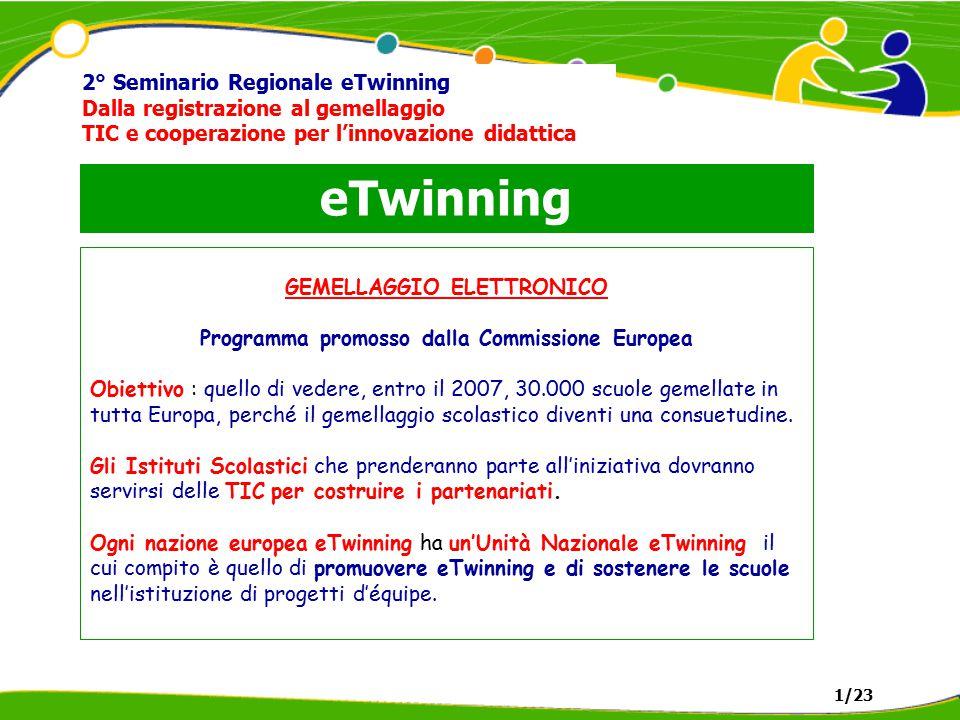 eTwinning 2° Seminario Regionale eTwinning Dalla registrazione al gemellaggio TIC e cooperazione per l'innovazione didattica a) RISOLUZIONE del Consiglio dell'Unione Europea del 13 luglio 2001 sulla e-Learning (2001/C 204/02) b) DECISIONE n° 2318/2003/CE del Parlamento Europeo e del Consiglio del 5 dicembre 2003 (recante adozione di un programma pluriennale 2004-2006 per l'effettiva integrazione delle tecnologie dell'informazione e delle comunicazioni (TIC) nei sistemi di istruzione e formazione in Europa (programma e-Learning) (2003/2318/CE) 1/23