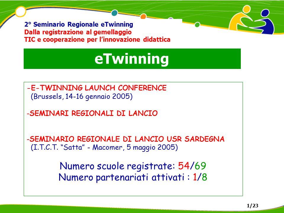 eTwinning 2° Seminario Regionale eTwinning Dalla registrazione al gemellaggio TIC e cooperazione per l'innovazione didattica -E-TWINNING LAUNCH CONFERENCE (Brussels, 14-16 gennaio 2005) -SEMINARI REGIONALI DI LANCIO -SEMINARIO REGIONALE DI LANCIO USR SARDEGNA (I.T.C.T.