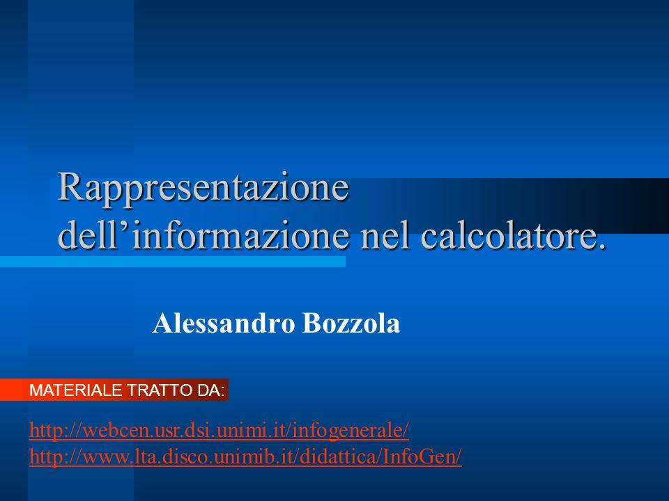 Rappresentazione dell'informazione nel calcolatore. Alessandro Bozzola MATERIALE TRATTO DA: http://webcen.usr.dsi.unimi.it/infogenerale/ http://www.lt