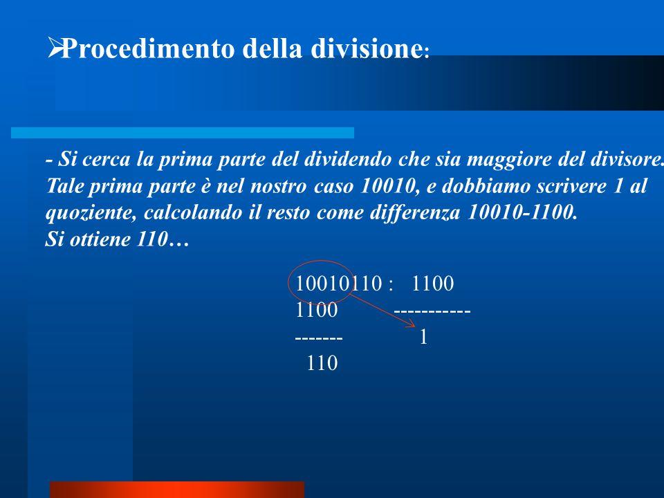  Procedimento della divisione : - Si cerca la prima parte del dividendo che sia maggiore del divisore. Tale prima parte è nel nostro caso 10010, e do