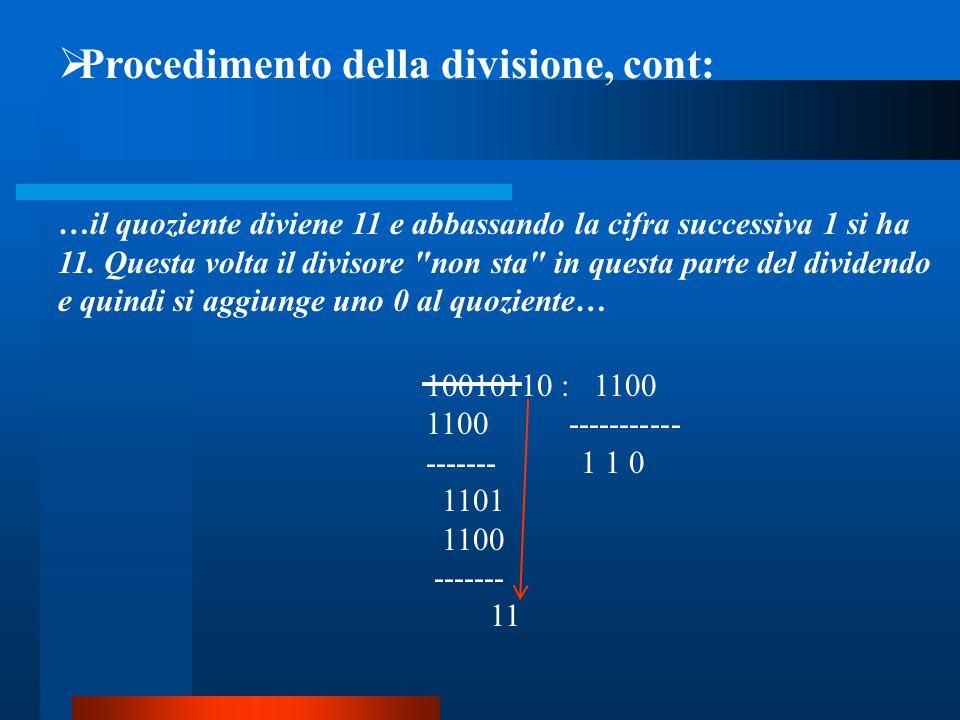  Procedimento della divisione, cont: …il quoziente diviene 11 e abbassando la cifra successiva 1 si ha 11. Questa volta il divisore