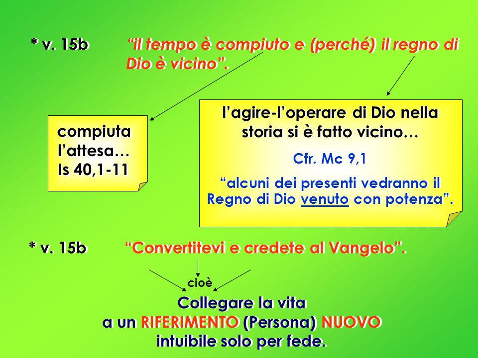 * v. 15b il tempo è compiuto e (perché) il regno di Dio è vicino .