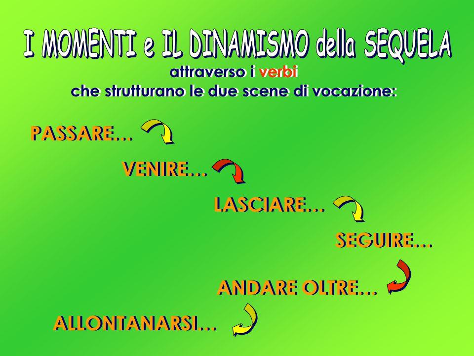 attraverso i verbi che strutturano le due scene di vocazione: PASSARE… VENIRE… LASCIARE… SEGUIRE… ANDARE OLTRE… ALLONTANARSI…